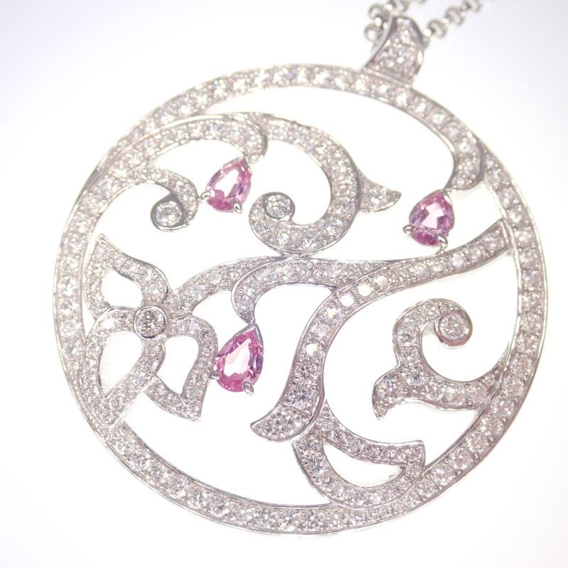 ライムライト ダイヤモンド ピンクサファイア ネックレス