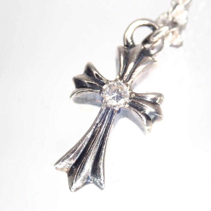 クロス ダイヤモンド 約0.1ct シルバー925 ネックレス