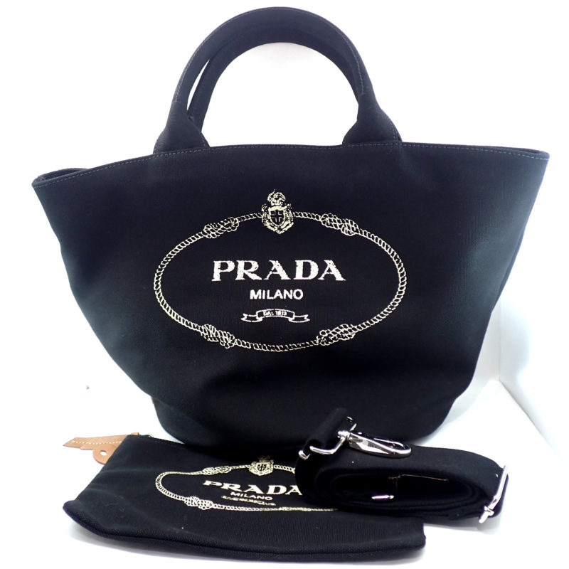 プラダ カナパ 2WAYトートバッグ キャンバス ブラック 1BG186 国内正規品
