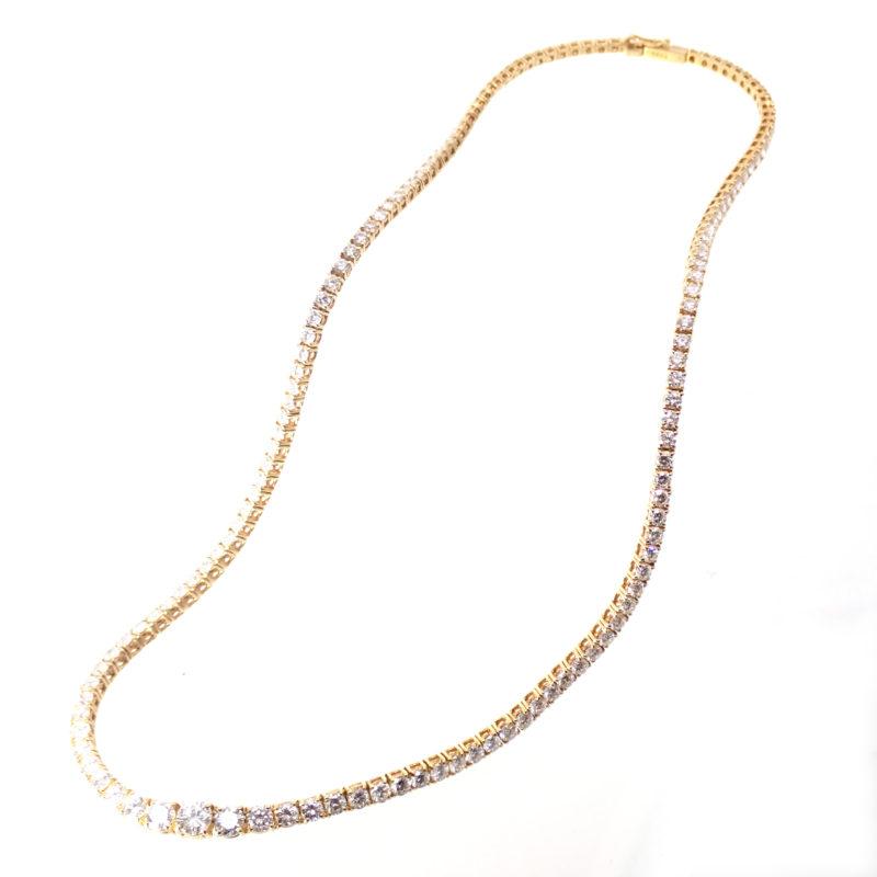 ミキモト ダイヤモンド 10ct テニスネックレス イエローゴールド